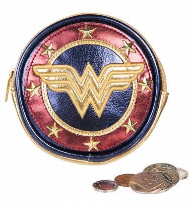 Metallic Wonder Woman Shield Coin Purse