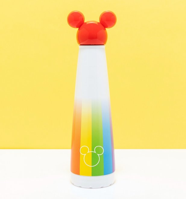 Mickey Mouse Rainbow Metal Water Bottle with Red Mickey Head Lid from Funko