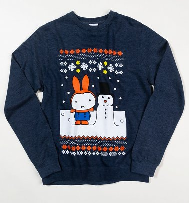 Miffy Snowman Fairisle Heather Navy Sweater