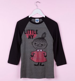 Moomins Little My Grey and Charcoal Raglan Baseball T-Shirt