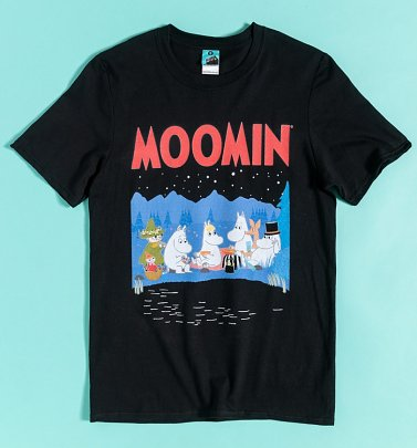 Moomins Night Scene Black T-Shirt
