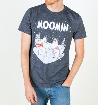 AWAITING APPROVAL PPS SENT 13/8 Men's Moomins Winter Scene Navy T-Shirt