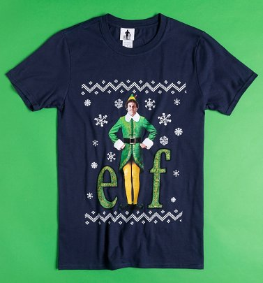 Navy Elf Fairisle Christmas T-Shirt