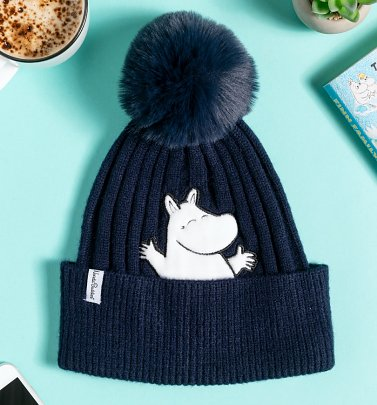 Navy Happy Moomin Knitted Bobble Hat