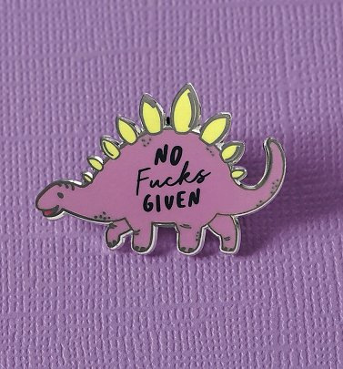 No F**** Given Stegosaurus Dinosaur Enamel Pin from Punky Pins