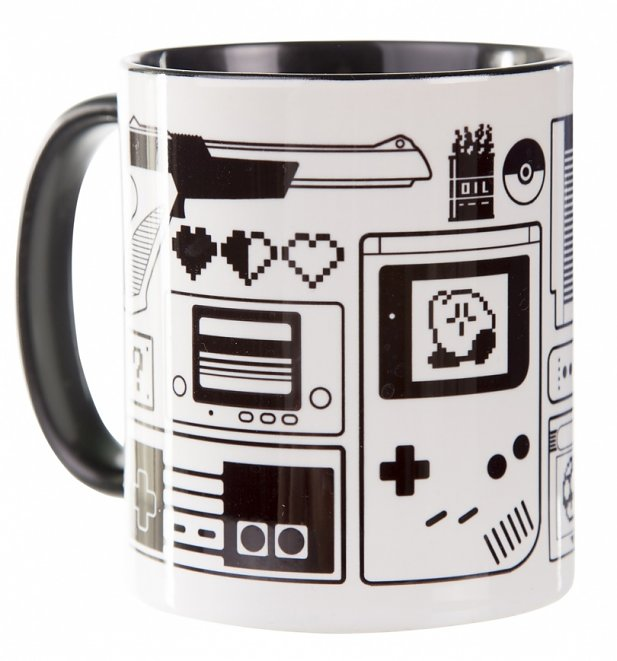 Old School Retro Gamer Black Handle Mug