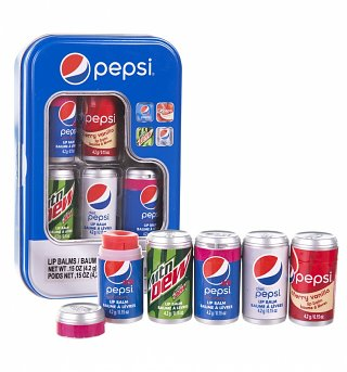 Pepsi Set Of 5 Lip Balms Gift Can