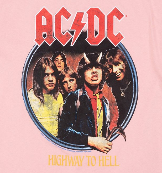 Pink AC/DC Highway To Hell T-Shirt from Amplified