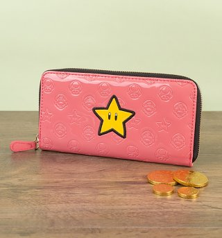 Pink PVC Nintendo Super Mario Brothers Star Zip Up Wallet