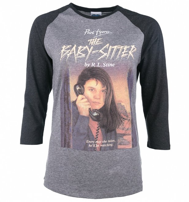 Point Horror The Babysitter Heather Grey and Dark Grey Raglan Baseball T-Shirt