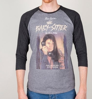 Point Horror Inspired The Babysitter Heather Grey and Dark Grey Raglan Baseball T-Shirt