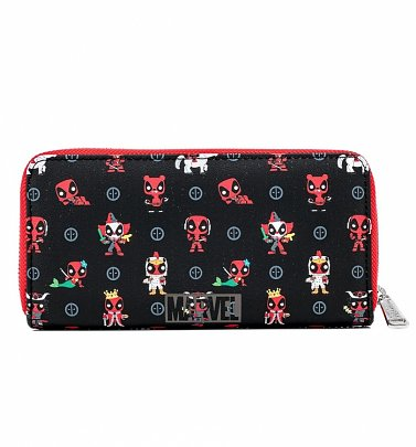 Pop by Loungefly Marvel Deadpool 30th Anniversary All Over Print Zip Around Wallet