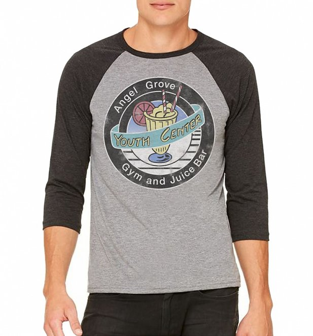 Power Rangers Angel Grove Grey And Black Raglan Baseball T-Shirt