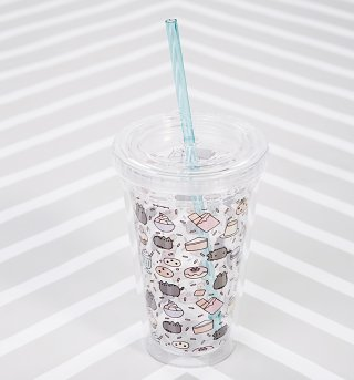 Pusheen Drinks Cup With Straw
