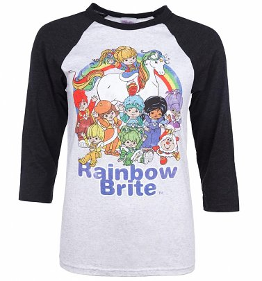 Rainbow Brite and the Colour Kids White And Charcoal Raglan Baseball T-Shirt
