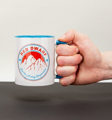 Red Dwarf Inspired Jupiter Mining Corporation Blue Handle Mug