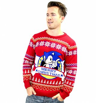 Red Knitted Sonic The Hedgehog Fair Isle Christmas Jumper
