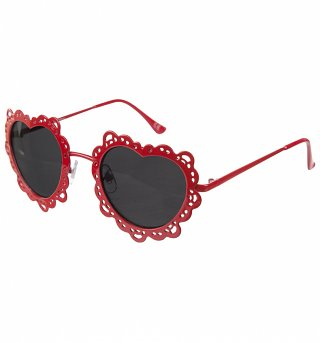 Red Metal Filigree Heart Shaped Sunglasses from Jeepers Peepers
