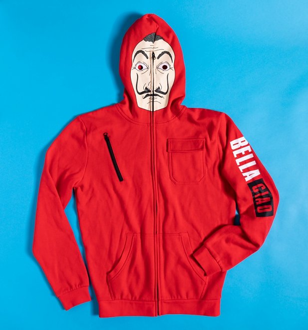 Red Money Heist La Casa De Papel Mask Zip Up Hoodie