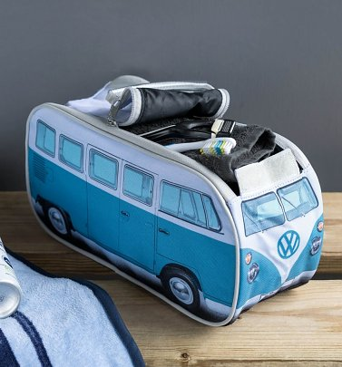 Retro Blue VW Campervan Wash Bag