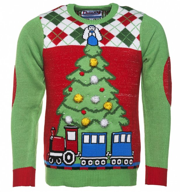 Retro Light Up Tree And Train Knitted Jumper from Cheesy Christmas Jumpers