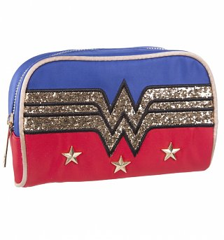 Retro Wonder Woman Logo Wash Bag With Glitter Print