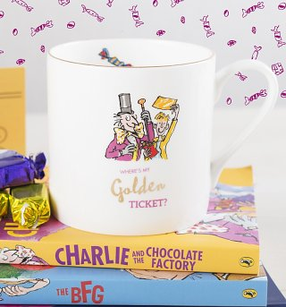 Roald Dahl Charlie And The Chocolate Factory Golden Ticket Large Boxed China Mug