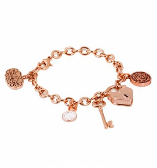 Rose Gold Plated Alice In Wonderland Chunky Charm Bracelet from Disney Couture