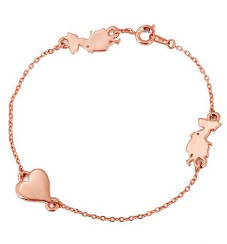 Rose Gold Plated Alice In Wonderland Heart And Figure Charm Bracelet from Disney Couture
