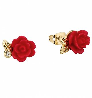 Gold Plated Beauty & The Beast Enchanted Rose Stud Earrings from Disney Couture