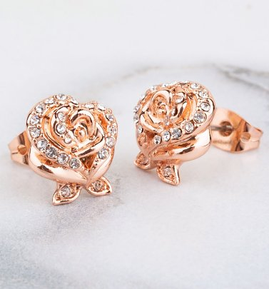 Rose Gold Plated Beauty & The Beast Enchanted Rose Crystal Stud Earrings from Disney by Couture Kingdom