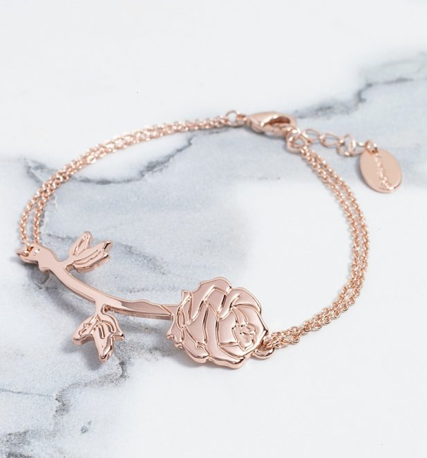 Rose Gold Plated Beauty & The Beast Rose Bracelet