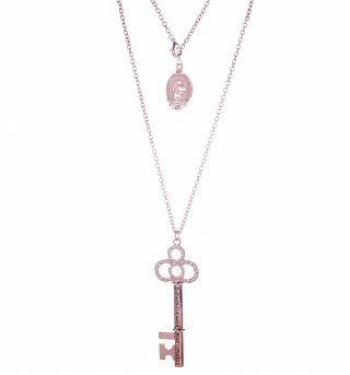 Rose Gold Plated Cinderella Dream Is A Wish Pave Statement Key Necklace from Disney Couture