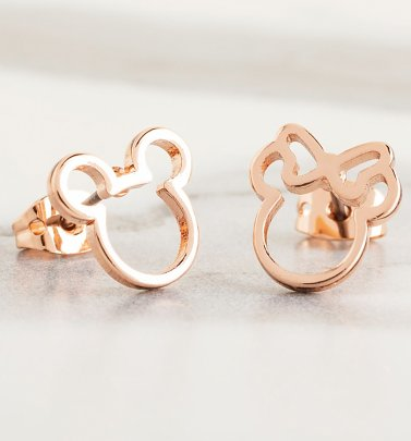 Rose Gold Plated Disney Mickey and Minnie Mismatched Stud Earrings