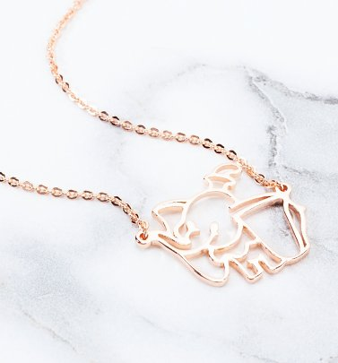 Rose Gold Plated Dumbo Outline Necklace from Disney by Couture Kingdom
