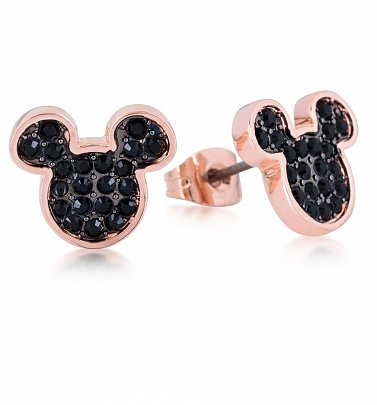 Rose Gold Plated Mickey Mouse Black Crystal Stud Earrings from Disney by Couture Kingdom