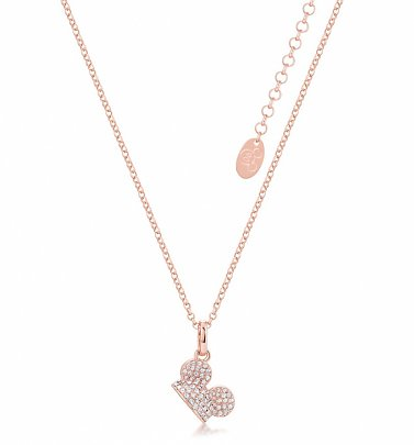 Rose Gold Plated Mickey Mouse Clear Crystal Ears Necklace from Disney by Couture Kingdom