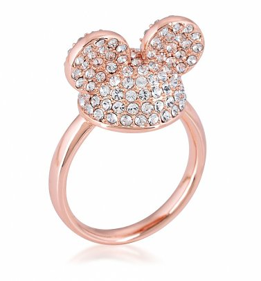 Rose Gold Plated Mickey Mouse Clear Crystal Ears Ring from Disney by Couture Kingdom