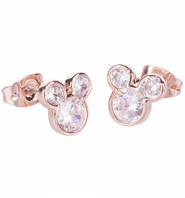 Rose Gold Plated Mickey Mouse Pave Stud Earrings from Disney by Couture Kingdom