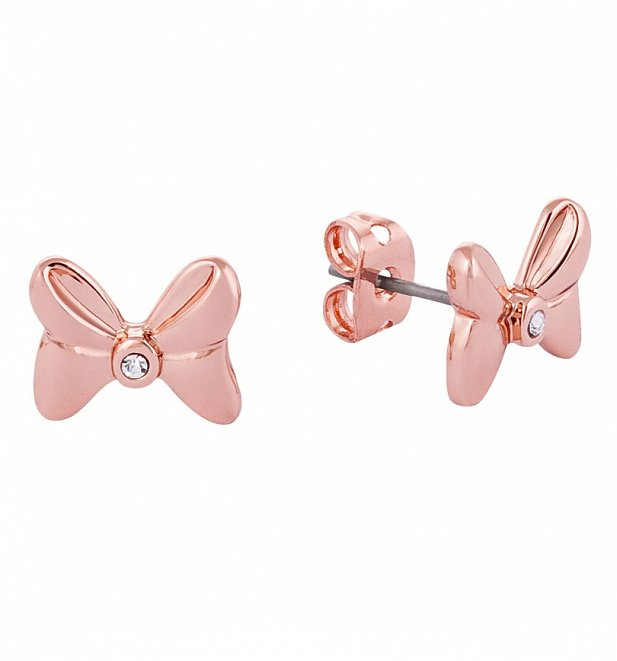 Rose Gold Plated Minnie Mouse Bow Stud Earrings With Crystals from Disney Couture