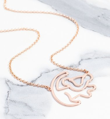 Rose Gold Plated Simba Outline Lion King Necklace