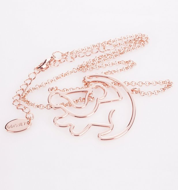 Rose Gold Plated Simba Outline Lion King Necklace from Disney by Couture Kingdom