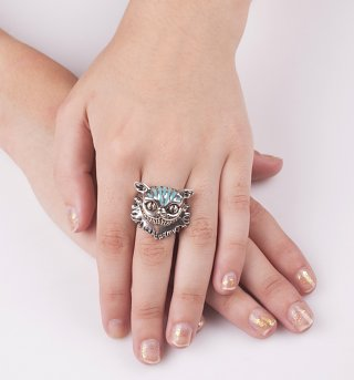 Silver Plated Cheshire Cat Alice In Wonderland Ring from Disney Couture