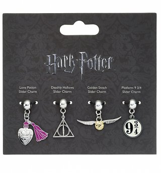 Silver Plated Harry Potter Icons Set of 4 Slider Charms
