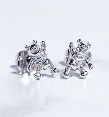 White Gold Plated Winnie The Pooh Stud Earrings