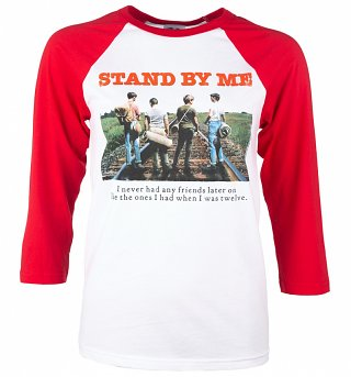Stand By Me Rail Tracks White And Red Raglan Baseball T-Shirt
