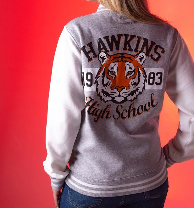 Stranger Things Inspired Hawkins High School Grey And White Varsity Jacket