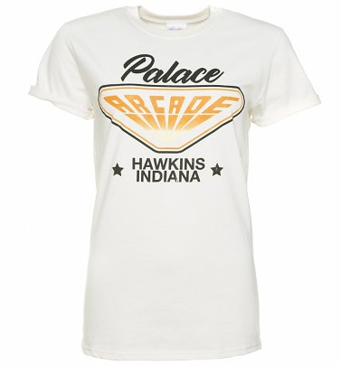 Women's Stranger Things Inspired Hawkins Indiana Arcade Ecru Boyfriend Fit T-Shirt With Rolled Sleeves