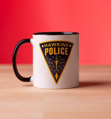 Stranger Things Inspired Hawkins Police Black Handle Mug