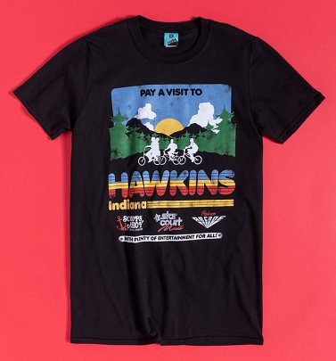 Stranger Things Inspired Pay A Visit To Hawkins Indiana Black T-Shirt